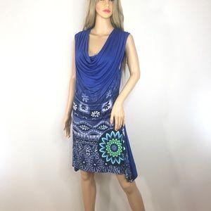 Desigual Dresses - Desigual Blue Draped Dress